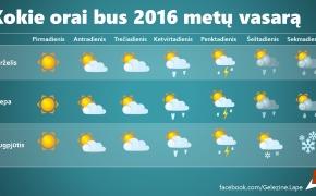 Kokie orai bus 2016 metų vasarą