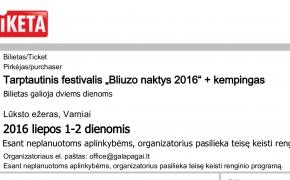 """""""Bliuzo naktys 2016"""": du bilietai už vieno kainą"""