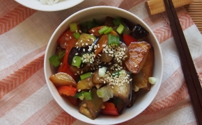 Baklažanų, bulvių ir paprikų stir-fry | di san xian