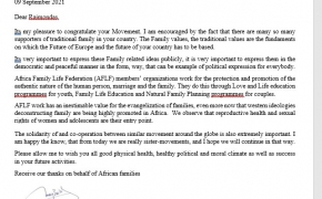 Laiškas Lietuvos šeimų sąjūdžiui